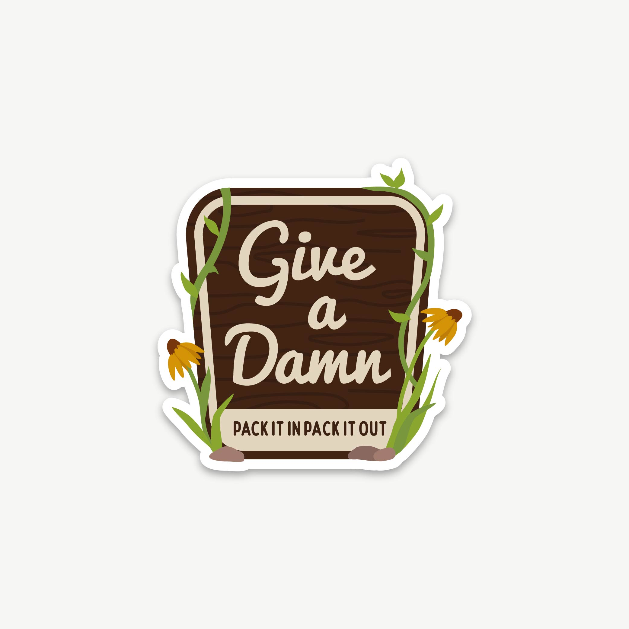 Give a Damn Flower Sticker